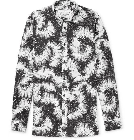 Slim-fit Button-down Collar Printed Cotton-twill Shirt