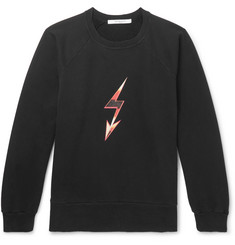 Givenchy Distressed Printed Loopback Cotton-Jersey Sweatshirt