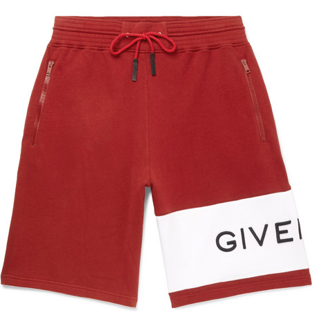 Givenchy – Wide-leg Logo-embroidered Fleece-back Cotton-jersey Drawstring Shorts – Red