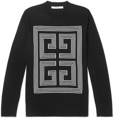 Givenchy - Slim-Fit Logo-Intarsia Wool Sweater