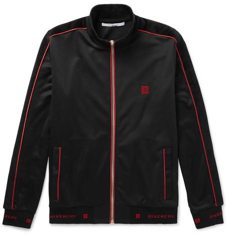 Logo Trimmed Fleece Back Jersey Track Jacket by Givenchy