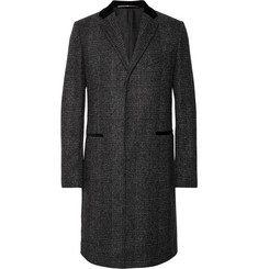 Givenchy Slim-Fit Velvet-Trimmed Prince of Wales Checked Wool-Blend Coat
