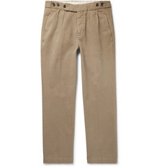 Massimo Alba Slim-Fit Pleated Brushed Cotton-Twill Trousers