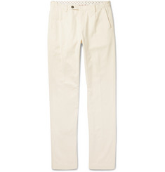 Massimo Alba - Slim-Fit Tapered Pleated Cotton and Cashmere-Blend Trousers