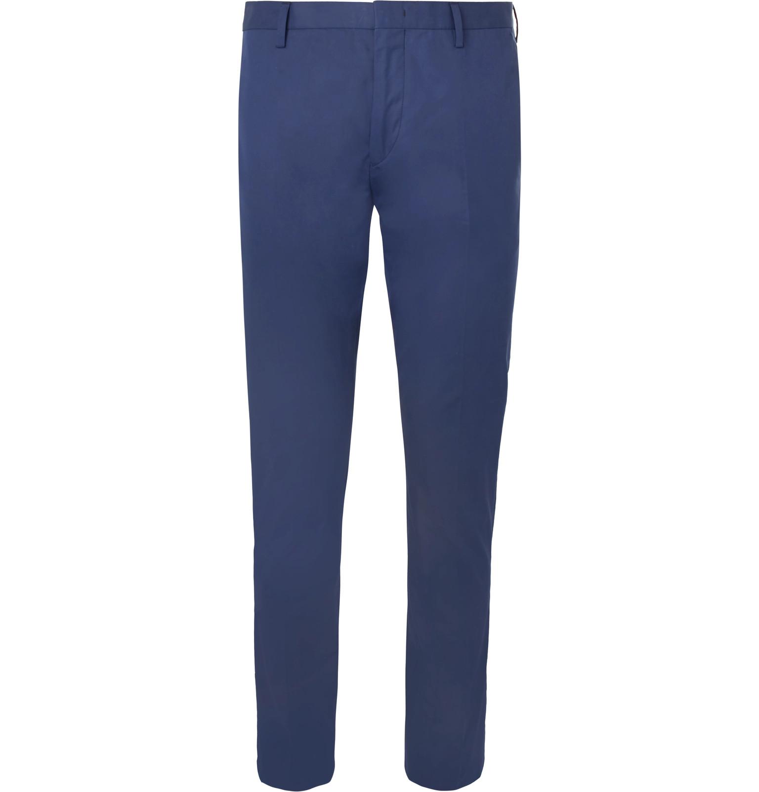 Royal-blue Soho Slim-fit Cotton Trousers Paul Smith ykMXeCaDmg