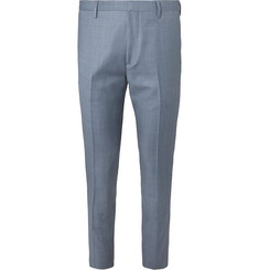 Paul Smith Blue Soho Slim-Fit Tapered Wool-Sharkskin Suit Trousers