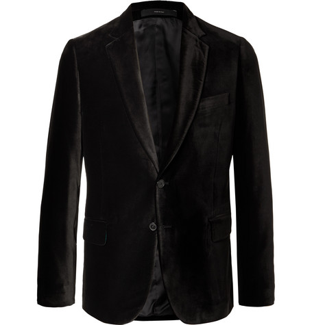 Black Soho Slim Fit Velvet Blazer by Paul Smith