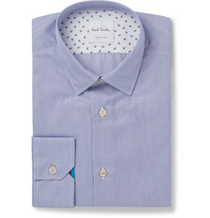 Paul Smith Blue Soho Slim-Fit Pinstriped End-on-End Cotton Shirt