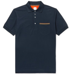 Paul Smith Stripe-Trimmed Cotton-Piqué Polo Shirt