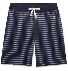 Todd Snyder + Champion Striped Loopback Cotton-Jersey Drawstring Shorts