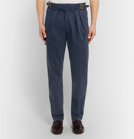 Manny Pleated Stretch Cotton Twill Trousers by Rubinacci