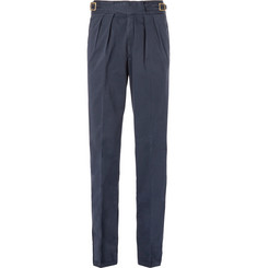 Rubinacci Manny Pleated Stretch-Cotton Twill Trousers