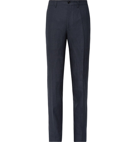 RUBINACCI Luca Slim-Fit Slub Linen Trousers in Storm Blue