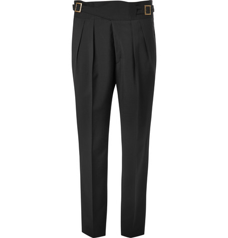 RUBINACCI MANNY PLEATED VIRGIN WOOL AND MOHAIR-BLEND TROUSERS