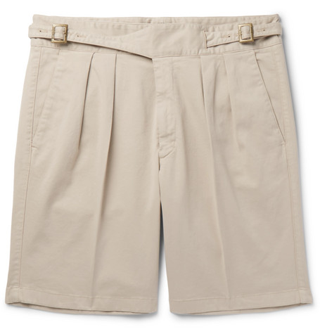 Manny Pleated Stretch-cotton Twill Shorts Rubinacci Pictures With Credit Card For Sale Outlet Enjoy Outlet Best Place L8THt7Mi