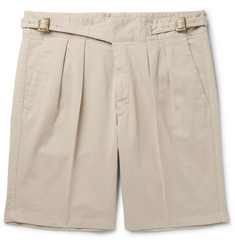 Rubinacci Manny Pleated Stretch-Cotton Twill Shorts