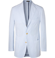 Rubinacci Light-Blue Striped Cotton-Seersucker Blazer
