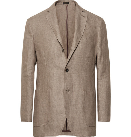RUBINACCI Unstructured Linen Blazer in Brown