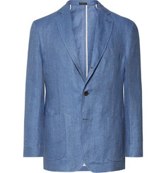 Rubinacci Blue Slim-Fit Unstructured Herringbone Linen Blazer