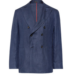 Rubinacci - Navy Unstructured Double-Breasted Linen Blazer