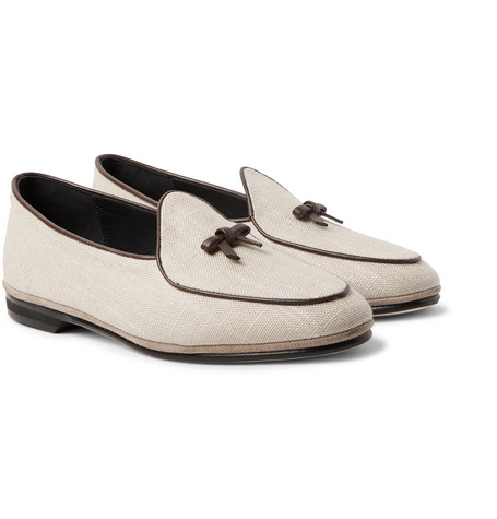 RUBINACCI Marphy Leather And Suede-Trimmed Linen Loafers in Cream