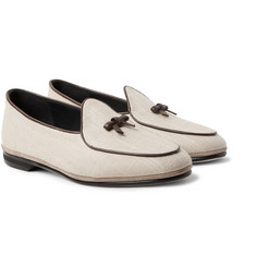 Rubinacci Marphy Leather and Suede-Trimmed Linen Loafers