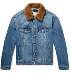 Alexander McQueen - Shearling-Trimmed Embroidered Denim Jacket