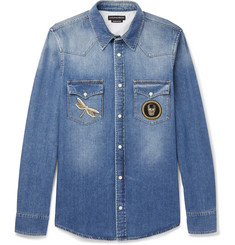 Alexander McQueen Slim-Fit Appliquéd Denim Shirt
