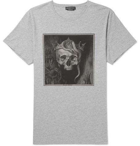 Oversized Printed Cotton Jersey T Shirt by Alexander Mc Queen