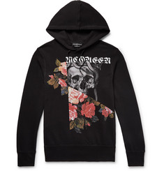 Alexander McQueen Slim-Fit Printed Fleece-Back Cotton-Blend Jersey Hoodie