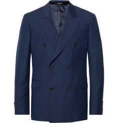 Alexander McQueen Navy Slim-Fit Double-Breasted Wool and Mohair-Blend Suit Jacket