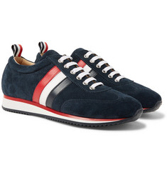 Thom Browne - Striped Suede and Leather Sneakers