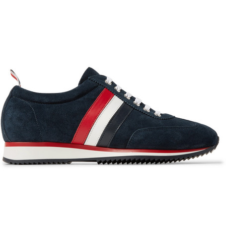 Striped Suede And Leather Sneakers - Midnight blue