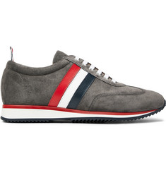 Thom Browne Striped Suede and Leather Sneakers