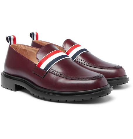 Thom Browne – Grosgrain-trimmed Leather Penny Loafers – Burgundy
