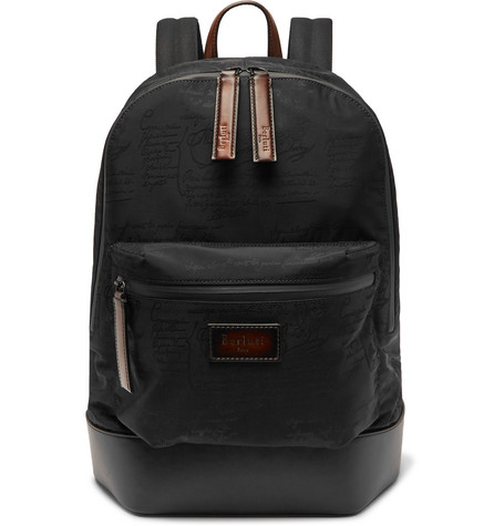 BERLUTI Volume Leather-Trimmed Jacquard Backpack in Black