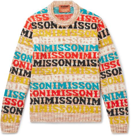 Logo Intarsia Wool Blend Sweater by Missoni