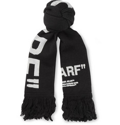 Off-White Fringed Intarsia-Knit Scarf