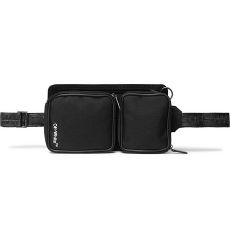 Leather-trimmed Canvas Belt Bag