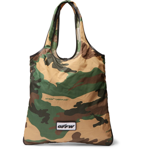 3ddea4869820 Off-White Leather-Trimmed Camouflage-Print Canvas Tote Bag In Green