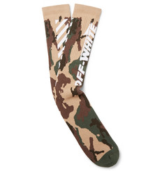 Off-White Wing Off Stretch Cotton-Blend Jacquard Socks
