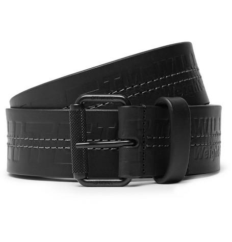 Off-White – 3.5cm Black Debossed Leather Belt – Black