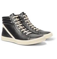 Rick Owens - Geothrasher Two-Tone Full-Grain Leather High-Top Sneakers
