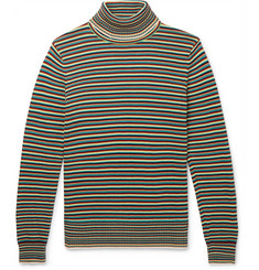 Sandro - Striped Cotton Rollneck Sweater