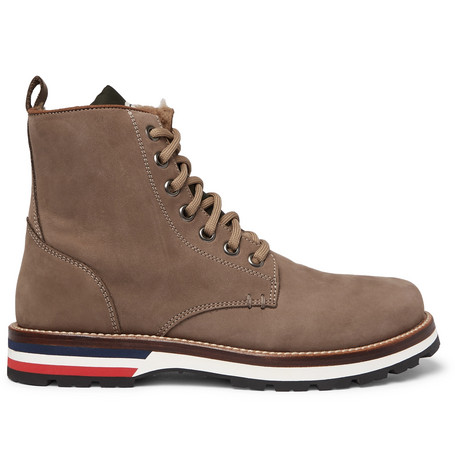 Moncler – New Vancouver Shearling-lined Suede And Shell Boots – Brown