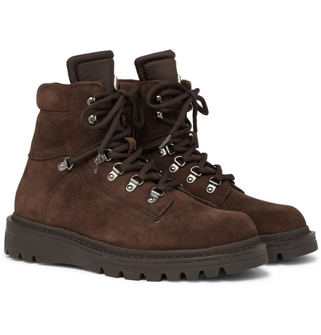 Moncler – Egide Shearling-lined Suede And Nylon Hiking Boots – Brown
