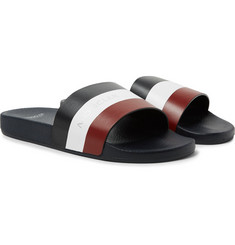 Moncler - Basile Logo-Print Striped Leather Slides