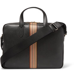 Paul Smith - Portfolio Webbing-Trimmed Full-Grain Leather Messenger Bag
