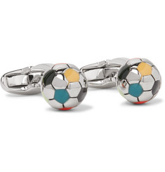 Paul Smith - Football Enamelled Silver-Tone Cufflinks
