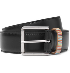 Paul Smith 4cm Black Stripe-Trimmed Leather Belt